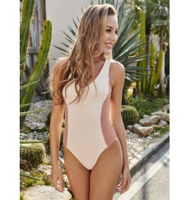 Women One Piece Swimsuits Pink Two-Tone V-Neck Raised Waist Summer Sexy Beach Swimming Suits