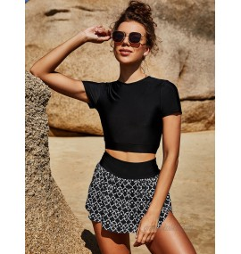Women Two Piece Swimsuits Black Piping Jewel Neck Stretch Natural Waist Summer Beach Bathing Suits