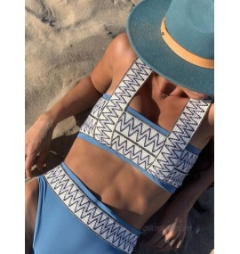 Women Two Piece Swimsuits Black Printed Pattern Piping Square Neck Backless Natural Waist Summer Sexy Swimwear
