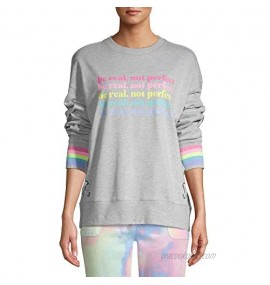 Be Real Not Perfect Light Gray Heather Lace-Up Sleep Pullover Sweatshirt