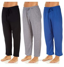 DARESAY Men's Soft Jersey Knit Lounge Sleep Pants with Pockets Pack of 3