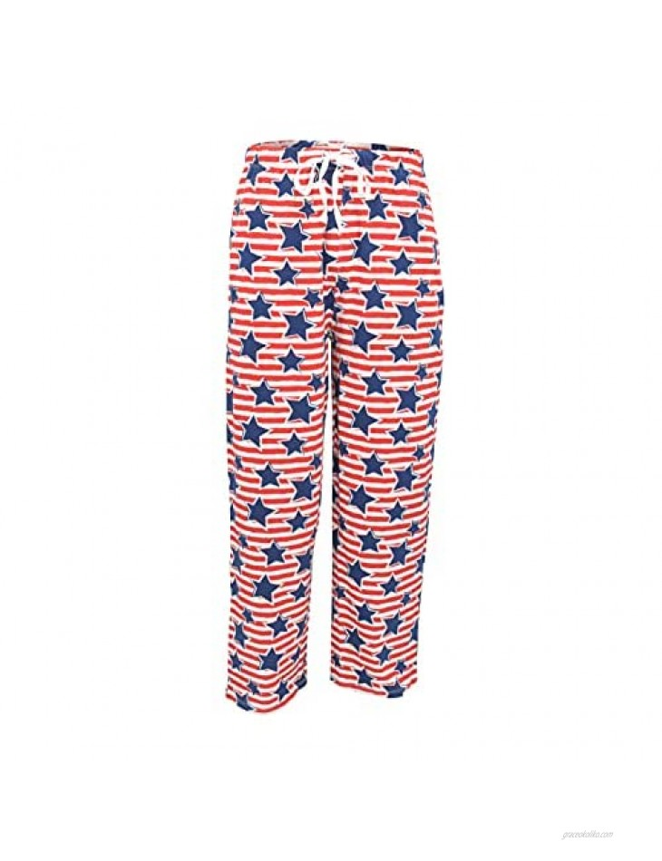 Unique Baby UB Mens 4th of July Red White Blue Stars Stripes Pajama Pants