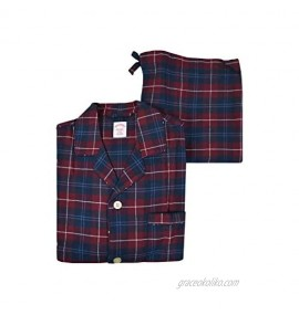 Brooks Brothers Mens 93521 Flannel Cotton Button Down Pajama Shirt and Pants Set Navy Blue Red Big Plaid