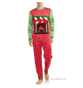 Dec 25th Mens Lighted Ugly Fireplace Stocking Christmas Sweater Union Suit Pajamas