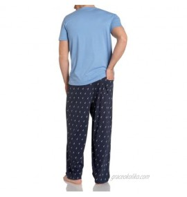 Nautica Men's J-class Print Navy Pant With Short Sleeve Blue Tee Boxed Gift Set