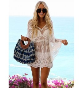 White Cover Ups For Women Cut Out V-Neck Long Sleeves Stretch Lace Summer Beach Swimwear