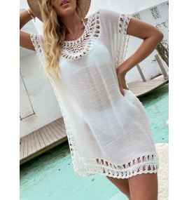 Women Cover Ups White Cut Out V-Neck Short Sleeves Convertible Polyester Summer Beach Swimming Suits